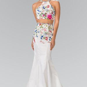 Floral Two Piece Mermaid Long Dress GSGL2260